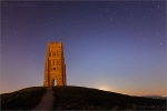 Glastonbury Tor, Night, Moon, Stars 6227 Print on paper
